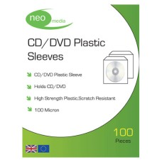 Neo Media High Strength 100 Micron CD/DVD Plastic Sleeves, Pack of 100