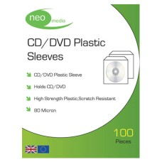 Neo High Quality 80 MICRON PVC CD / DVD Sleeve in Packs of 100