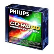 Philips CD-RW  Rewriteable CD-R 80Min 700MB 4-12x Jewel Case - 10 Pack