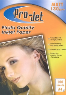 Pro-Jet A4 MATT Photo Paper 130gsm Pack of 100