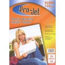 Pro-Jet A4 Glossy Photo Paper 135gsm Pack of 20