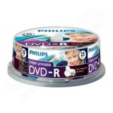 PHILIPS DVD-R 120 MIN VIDEO 4.7GB 16X SPEED INKJET PRINTABLE BLANK DISC- 25 PACK