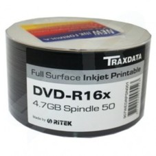 Traxdata Ritek 16x DVD-R White Full Face Printable 50 Pack