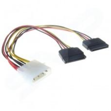 220MM Serial SATA Power Adaptor/Splitter Cable - 5.25 4 pin molex to 2 x 15 pin Sata