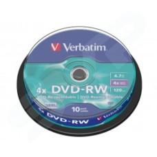 Verbatim 4x Branded Matt Silver DVD-RW in Packs of 10 43552
