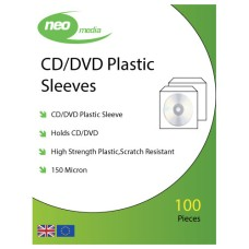 Neo Media Super Heavy Weight 150 Micron Plastic CD/DVD Wallets with Flap pack of 100