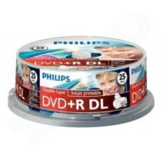 PHILIPS DVD+R DL 8.5GB 240MIN 1-8X White Inkjet Printable Dual Layer- 25 PACK DR8I8B25F
