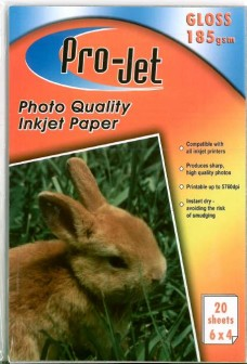 Pro-Jet A6 6x4 GLOSS Photo Paper 185gsm Pack of 20