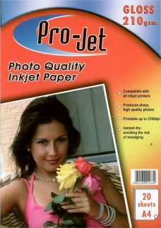 Pro-Jet A4 Glossy Photo Paper 210gsm Pack of 20