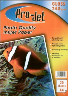 Pro-Jet A4 Glossy Photo Paper 240gsm Pack of 20