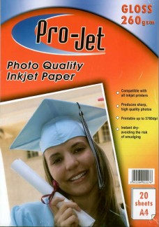 Pro-Jet A4 Glossy Photo Paper 260gsm Pack of 20
