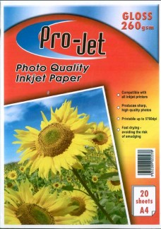 Pro-Jet A4 Glossy Photo Paper 260gsm Resin Coated Pack of 20