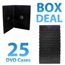 25X 14MM BLACK Double DVD STORAGE CASE WITH CLEAR OUTER SLEEVE