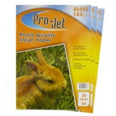 Pro-Jet A4 Glossy Photo Paper 185gsm Pack of 20