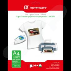 Mirror A4 T-Shirt 150GSM Inkjet Transfer Paper for Light Fabrics - 5 Sheets
