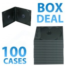 100x Half Height Black Double CD DVD Case - 10MM