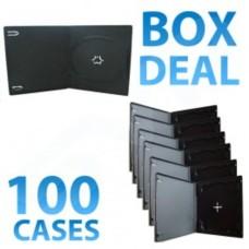 100x Half Height Black Single CD DVD Case - 10MM