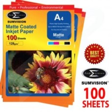 Sumvision Matt White Photo Inkjet Paper A4 128gsm (100 Sheets)