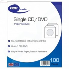 NEO Single CD / DVD Paper Sleeves with window ( Pack of 100)