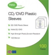 120 Micron Neo Plastic Sleeves  (100 pack) Neo Media High Strength CD/DVD