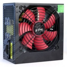Pulse 750W PSU ATX 12V Active PFC 4 x SATA PCIe 120mm Silent Red Fan Black Casing
