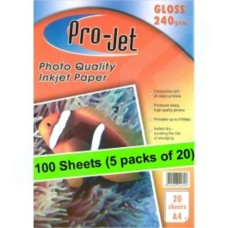 5x Projet A4 240g Gloss Photopaper (20 sheets per pack)