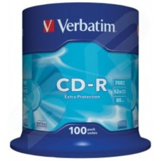 Verbatim 52x Branded Extra Protection Surface CD-R in Packs of 100 43411