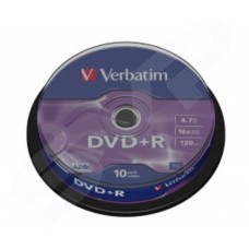 Verbatim Azo 16x Branded Matt Silver DVD+R in Packs of 10 43498