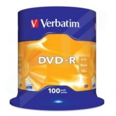 Verbatim Azo Branded Matt Silver 16x DVD-R Pack of 100 43549