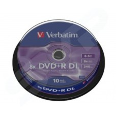 Verbatim Dual Layer DVD+R DL Azo 8x Branded Matt Silver in Packs of 10 43666