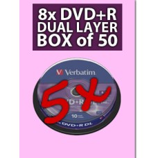 50 x Verbatim Dual Layer DVD+R DL Azo 8x Branded Matt Silver in 5 Packs of 10 - 43666