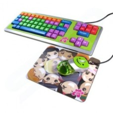 Kids Educational Colour Coded Keyboard Mouse and Mouse Mat Set - Upper Case