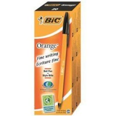 Bic Orange Fine Ballpoint Pen 0.8mm Tip 0.3mm Line (Black) Pack of 20