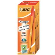 Bic Orange Fine Ballpoint Pen 0.8mm Tip 0.3mm Line (Red) Pack of 20