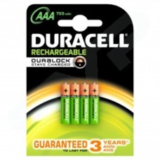 Duracell Rechargeable HR03 DC2400 750 mAh AAA Batteries - 4-Pack