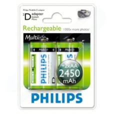 Philips Multilife R20NM Adapter + 2 x 2450 mAh NiMH AA Batteries