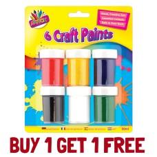 Buy 1 Get 1 Free - Craft Paint 6x Pot 25ml Non Toxic Children Kids Art Craft Creative