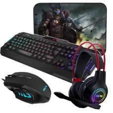 Sumvision Gaming Chaos 4-in-1 Pack 2 - Keyboard Headset Mouse Set for PC Laptop