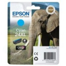 Epson Elephant 24XL (non-Tagged) High Capacity (Yield 740 Pages) Ink Cartridge (Cyan) for Epson Expression Photo: XP-750 / XP-850