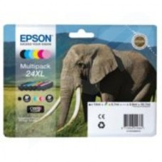 Epson Elephant 24XL (RF/AM) High Capacity 6 Colour Multipack Ink Cartridge (Black Cyan Magenta Yellow Light Cyan Light Magenta) for Epson Expression Photo: XP-750 / XP-850