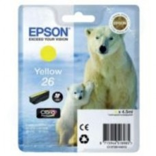 Epson Polar Bear 26 Yellow Claria Premium Ink Cartridge (Non Tagged) for Expression Premium XP-600/XP-605/XP-700/XP-800 All-in-One Inkjet Printers