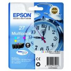 Epson Alarm Clock 27 DURABrite Ultra Multipack Ink Cartridge (Cyan/Magenta/Yellow) Blister for WorkForce WF-3620DWF/WF-7610DWF/WF-3640DTWF/WF-7620DTWF/WF-7110DTW Printers