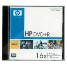 Single HP DVD+R in Jewel Case DRE00023 16x 4.7GB 120Min (Video) Branded Blank Media Disk