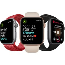 APPLE Watch Series 4 - Silver & White Sports Band - 44mm