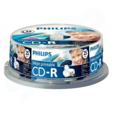 PHILIPS CD-R 80 Mins 700MB 1-52X Speed Inkjet Printable Blank CD - 25 Cake Pack