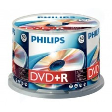 Philips DVD+R Branded Media 4.7GB 16x  Cake Spindle  - 50 Pack