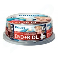 PHILIPS DVD+R DL 8.5GB 240MIN 1-8X White Inkjet Printable Dual Layer- 25 PACK DR8I8B25F