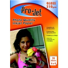 Pro-Jet A6 6x4 Glossy Photo Paper 210gsm Pack of 20