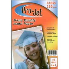 Pro-Jet A6 GLOSS Photo Paper 260gsm Pack of 20 6x4
