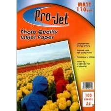 Pro-Jet 110gsm A4 Matt Inkjet Photo Paper Pack of 100